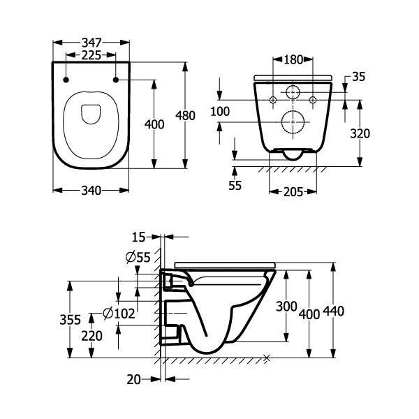 Zdjęcie Zestaw Miska WC podwieszana Rimless Square Compacto 48×34,7 cm + deska wolnoopadająca slim duroplast Roca Gap A34H473000