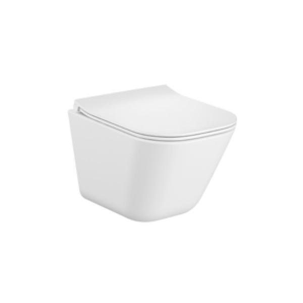 Zestaw Miska WC podwieszana Rimless Square Compacto 48x34,7 cm + deska wolnoopadająca slim duroplast Roca Gap A34H473000