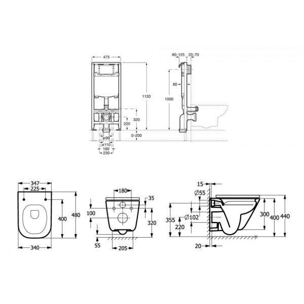 Zdjęcie Zestaw podtynkowy Duplo One + Miska WC podwieszana Gap Square Compacto 48×34,7 cm + Deska wolnoopadająca Roca Gap A893104510