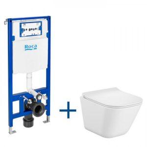 Zestaw podtynkowy Duplo One + Miska WC podwieszana Gap Square Compacto 48x34,7 cm + Deska wolnoopadająca Roca Gap A893104510