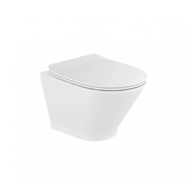 Zdjęcie Zestaw Miska WC podwieszana Rimless Round Compacto 48×35,5 cm + deska wolnoopadająca slim duroplast Roca Gap A34H0N3000