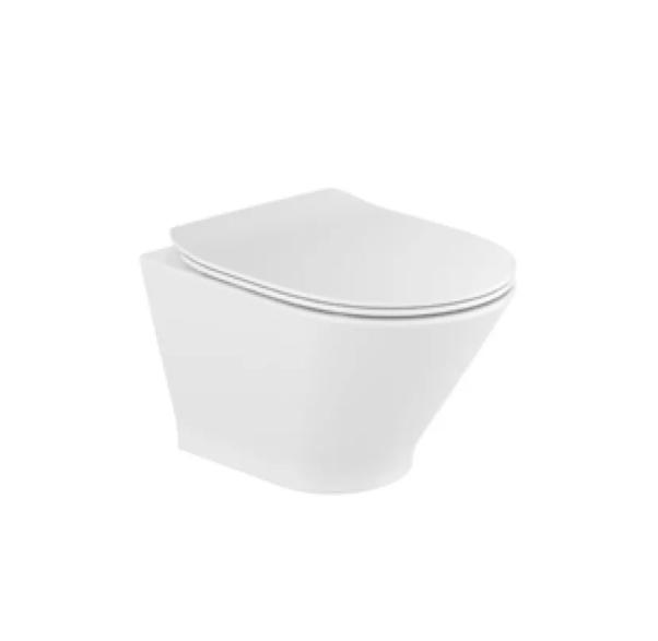 Zestaw Miska WC podwieszana Rimless Round Compacto 48x35,5 cm + deska wolnoopadająca slim duroplast Roca Gap A34H0N3000