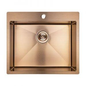 Zlewozmywak stalowy Laveo Marmara 59x51 cm 1-komorowy różowe złoto SAM_810T