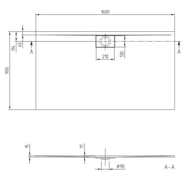 Zdjęcie Brodzik prostokątny Villeroy&Boch Architectura 1600 x 900 x 15 mm MetalRim Anthracite UDA1690ARA215V-1S