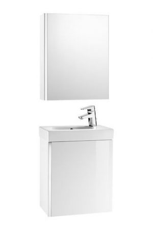 Zestaw łazienkowy Unik z drzwiami, szafką z lustrem i umywalką 45 cm Roca Mini biały połysk A855866806