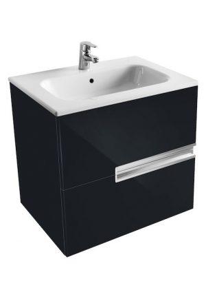 Zestaw łazienkowy Unik 60 cm z 2 szufladami Roca Victoria Nord czarny połysk A851507351