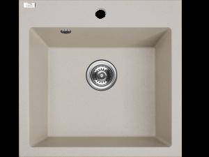 Zlewozmywak granitowy Laveo Alena 49x49 cm 1-komorowy beżowy SBA_410T
