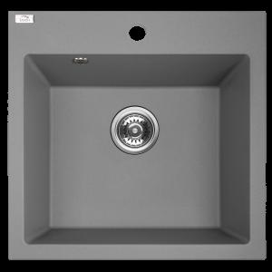 Zlewozmywak granitowy Laveo Alena 49x49 cm 1-komorowy szary SBA_510T