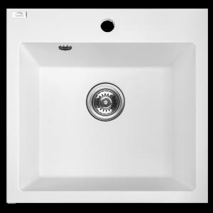 Zlewozmywak granitowy Laveo Alena 49x49 cm 1-komorowy biały SBA_610T