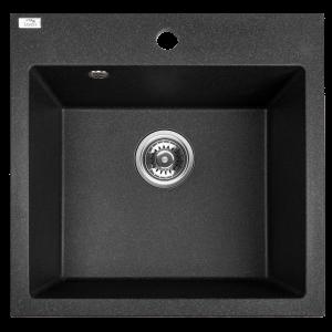 Zlewozmywak granitowy Laveo Alena 49x49 cm 1-komorowy czarny SBA_710T