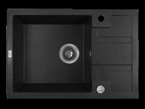 Zlewozmywak granitowy Laveo Barbados 65x44 cm 1-komorowy czarny SBB_713T