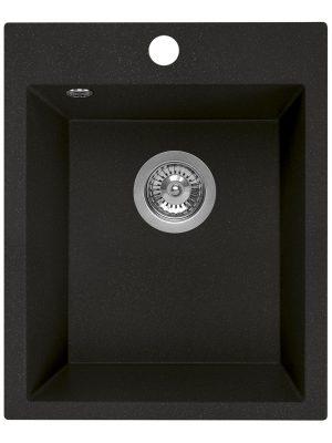 Zlewozmywak granitowy Laveo Chichi 48x39 cm 1-komorowy czarny SBH_710T