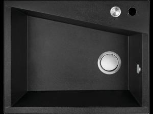 Zlewozmywak granitowy Laveo Grenada 60x48 cm 1-komorowy czarny SBG_710T