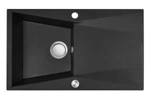 Zlewozmywak granitowy Laveo Grenada 78x48 cm 1-komorowy czarny SBG_711T