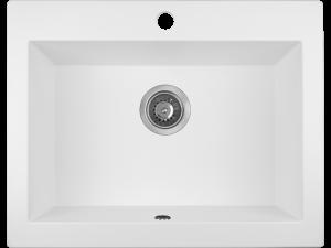 Zlewozmywak granitowy Laveo Komodo 63x49 cm 1-komorowy biały SBK_610T