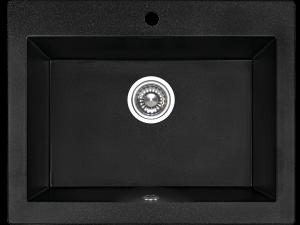 Zlewozmywak granitowy Laveo Komodo 63x49 cm 1-komorowy czarny SBK_710T