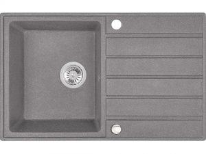 Zlewozmywak granitowy Laveo Margarita 79x49 cm 1-komorowy szary SBM_511T