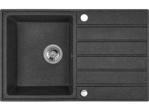 Zlewozmywak granitowy Laveo Margarita 79x49 cm 1-komorowy czarny SBM_711T