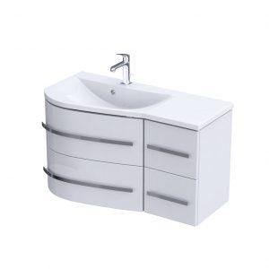 Szafka podumywalkowa 90 cm Oristo Opal cztery szuflady biały połysk lewa  OR30-SD4S-90-1-L