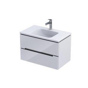 Szafka podumywalkowa 80 cm Oristo Silver Uni 2 szuflady biały połysk uniwersalna  OR33-SD2S-80-1-V3