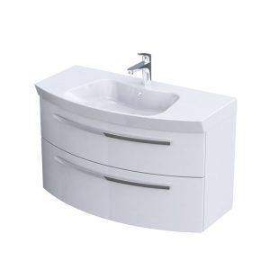 Szafka podumywalkowa 100 cm Oristo Flow 2 szuflady biały połysk  OR38-SD2S-100-1