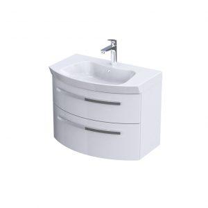 Szafka podumywalkowa 80 cm Oristo Flow 2 szuflady biały połysk  OR38-SD2S-80-1