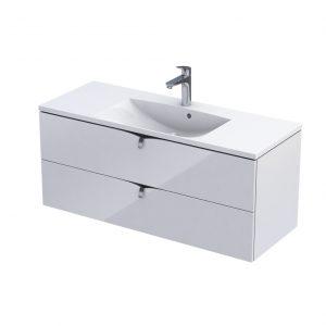 Szafka podumywalkowa 120 cm Oristo Siena 2 szuflady biały połysk  OR45-SD2S-120-1
