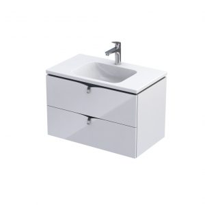 Szafka podumywalkowa 80 cm Oristo Siena 2 wisząca szuflady biały połysk  OR45-SD2S-80-1