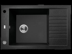 Zlewozmywak granitowy Laveo Pionier 78x50 cm 1-komorowy czarny SBR_713T