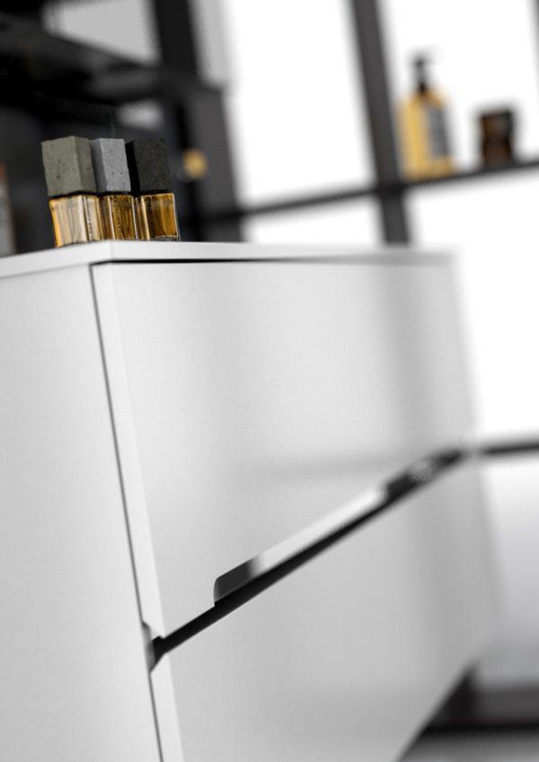 Zdjęcie Szafka podumywalkowa 90 cm Oristo Silver wisząca 2 szuflady biały połysk  OR33-SD2S-90-1