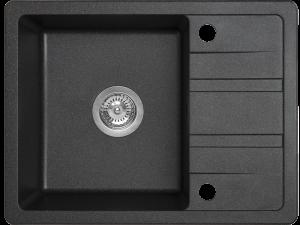 Zlewozmywak granitowy Laveo Stella 58x44 cm 1-komorowy czarny SBY_713T