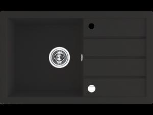 Zlewozmywak granitowy Laveo Trzynastka 79x48 cm 1-komorowy czarny SBP_711T