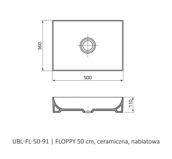 Zdjęcie Umywalka nablatowa Oristo Floppy ceramiczna biała 50 cm UBL-FL-50-91