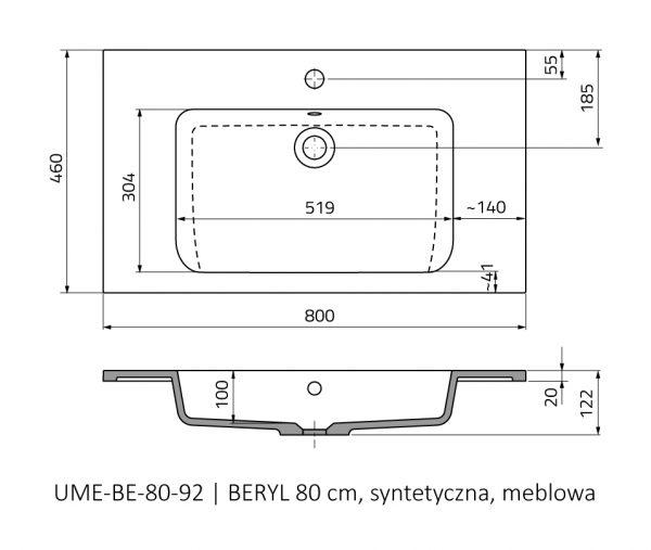 Zdjęcie Umywalka meblowa Oristo Beryl konglomerat biała 80 cm UME-BE-80-92 @