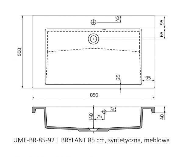 Zdjęcie Umywalka meblowa Oristo Brylant konglomerat biała 85 cm UME-BR-85-92