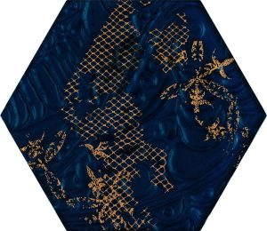 Inserto szklane Paradyż Intense tone Blue Heksagon C 19,8x17,1 cm (p)