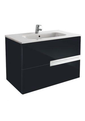 Zestaw łazienkowy Unik 80 cm z 2 szufladami Roca Victoria Nord czarny połysk A851508351
