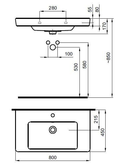 Zdjęcie Umywalka wisząca / meblowa Roca Caserta 80×45 cm biały A3270J0000