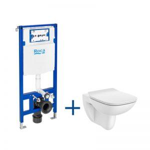 Zestaw podtynkowy DUPLO ONE + miska WC podwieszana DEBBA SQUARE RIMLESS z deską SLIM Roca Debba A893104450
