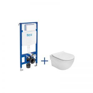 Zestaw podtynkowy DUPLO ONE + miska WC podwieszana Meridian Compacto RIMLESS z deską SLIM Roca Meridian A893104530