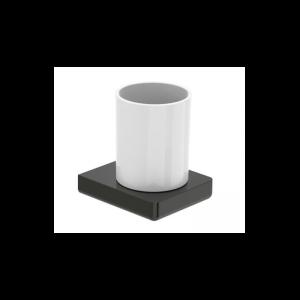 Pojemnik na szczoteczki ścienny szklany Roca Tempo 10,5×11,2 cm Titanium black A817021022