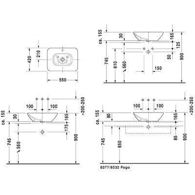 Zdjęcie Umywalka nablatowa prostokątna Duravit ME by Starck 55×42 cm biały 334520000