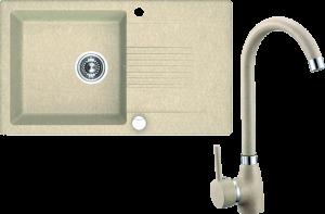 Zlewozmywak granitowy w zestawie z baterią stojącą granitową Laveo Celia 76x44 cm 1-komorowy z ociekaczem beżowy SJCG411T