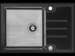 Zlewozmywak stalowy Laveo Kongo 78x51 cm 1-komorowy z ociekaczem czarny SSK_711T