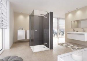 Drzwi prysznicowe do ścianki bocznej ze stałym segmentem lewe Huppe Envy 120x80 cm GL0605 @^