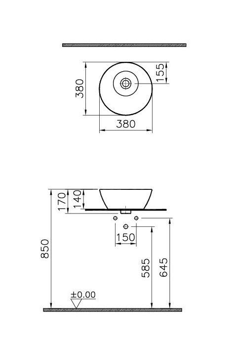 Zdjęcie Umywalka nablatowa okrągła Vitra Geo 38×38 cm biały 4421B003-0016 @^