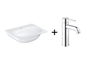 Zestaw Grohe Essence - umywalka meblowa prostokątna 60x46 cm PureGuard biała 3956800H + GROHE Essence – jednouchwytowa bateria umywalkowa Chrom 23589001