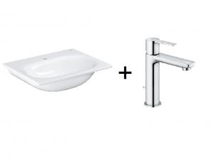 Zestaw Grohe Essence - umywalka meblowa prostokątna 60x46 cm PureGuard biała 3956800H + GROHE Lineare bateria umywalkowa, DN 15 Rozmiar S 32114001