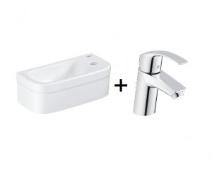 Zestaw GROHE Euro Ceramic - umywalka wisząca 39327000 + Grohe Eurosmart S bateria umywalkowa z korkiem Chrom 33265002