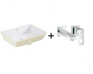 GROHE Cube Ceramic - umywalka podblatowa 3948000H + Grohe Eurocube - bateria umywalkowa ścienna 2-otworowa chrom 19895